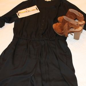 Loft black half button romper
